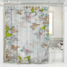 Bohemian Decorative Butterfly Shower Curtain 3D Printing Bathroom Curtains Colorful Eco-friendly Washable Bath