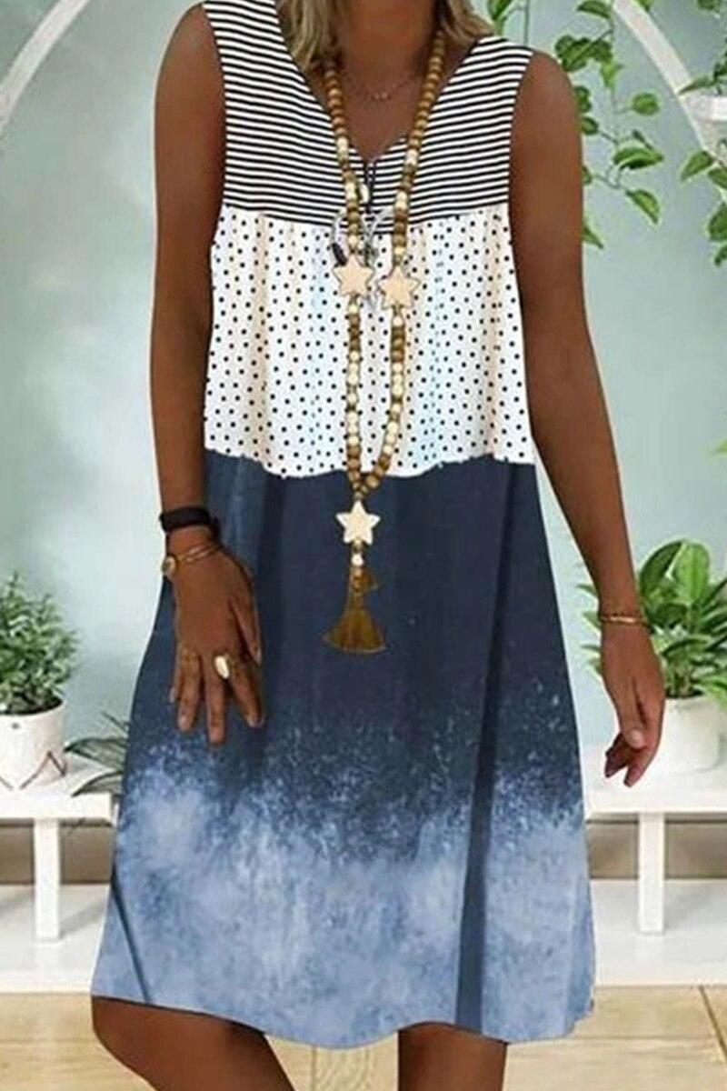 New Women's Loose Casual Dress Sleeveless Dress Fashion Stitching Striped Dress