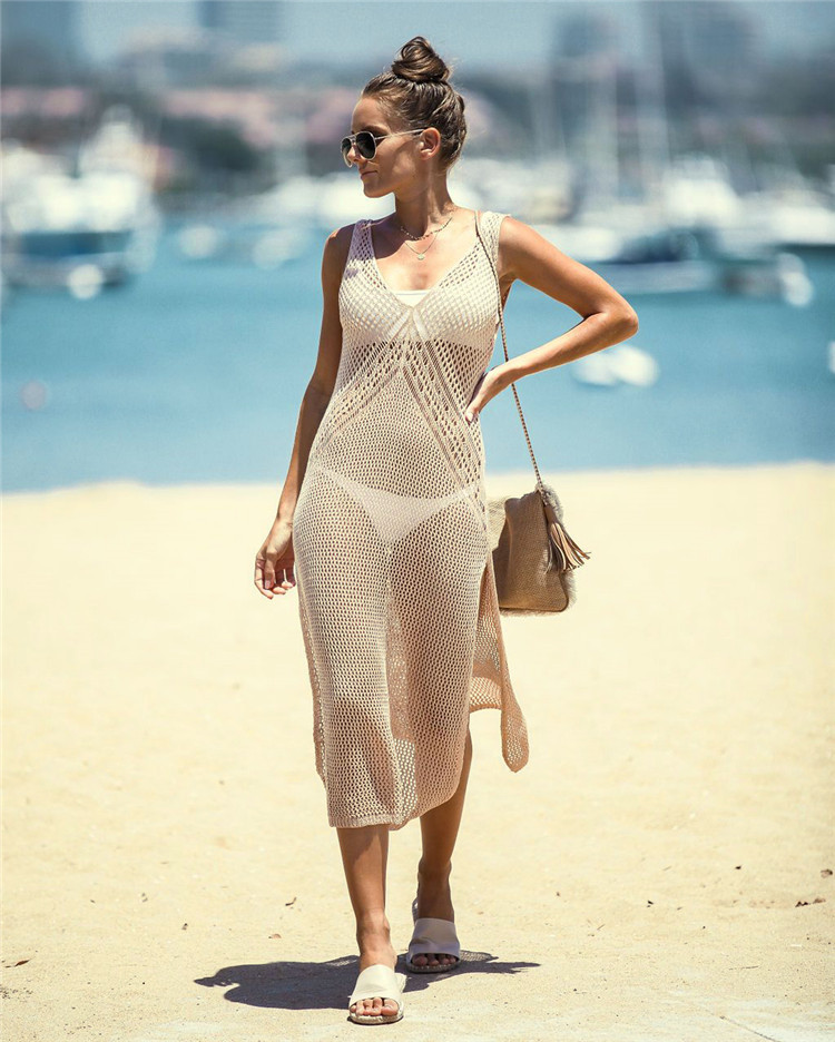 Europe And America New Style Knitted Sexy Hollow Out Slit Beach Skirt Holiday Long Skirts Bikini Outer Blouse Sun Shirt