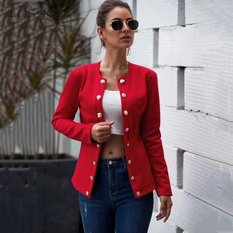 Lossky Cardigan Blazer Women Long Sleeve Autumn Blazer Feminino Casual Red Slim Ladies Coat Office Outfit Streetwear Work Jacket
