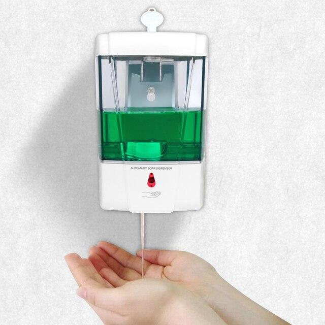 Dispensador automático de sabonete líquido com capacidade de 700 ml, suporte para parede, libera o detergente sem contato manual, para banheiro e cozinha