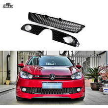 цена на ABS honeycomb meshed Racing grille For VW Golf 6 MK6 Front Bumper lower Grills side fog light grille Not fit GTI & R20 3pcs/set