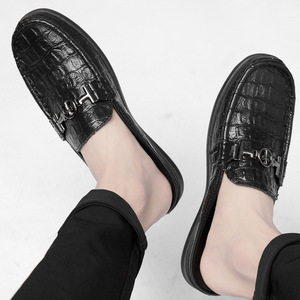 Image 4 - Moccasins Men Shoes Cowhide Social Hollow out Large Size Small Half Loafers