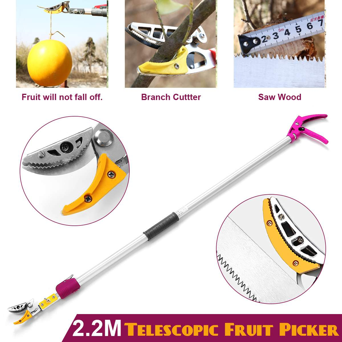 2.2m Extra Long Reach Pruner Cut And Hold Bypass Pruner Max Cutting 1/2 Inch Fruit Picker And Tree Cutter For Garden