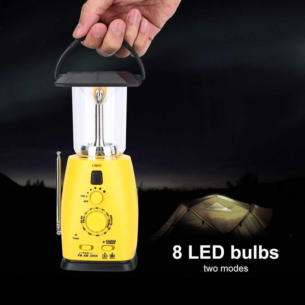 Linterna portátil de luz Flash Dynamos Radio luz DE EMERGENCIA lámpara de manivela de mano de energía Solar para senderismo Camping Carga de teléfono de pesca