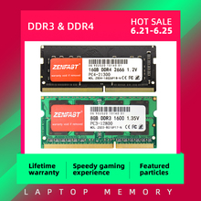 ZENFAST DDR3 DDR4 8GB 4GB 16GB Laptop Ram 1333 1600 2133 2400 2666MHz 204pin Sodimm Notebook Memory