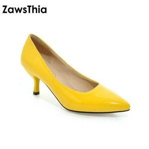 Image 2 - ZawsThia 하이힐 여성 펌프 얇은 뒤꿈치 클래식 노란색 보라색 섹시한 숙녀 사무실 경력 신발 여자 드레스 신발 stilettos