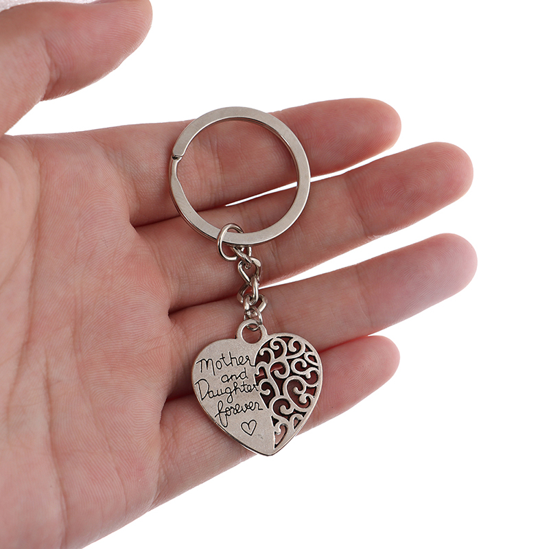 1Pcs Mother And Daughter Forever Hollow Heart Key Ring Mother's Day Gift  Keychain For Mom Mother Daughter