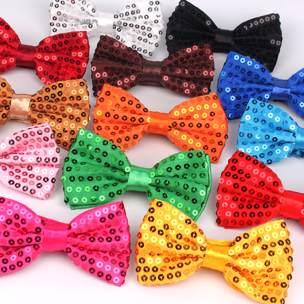 Fashion Bow Tie For Men Women Classic Sequins Bowtie For  Wedding Party Bowknot Adult Mens Bowties Cravats Yellow Tie