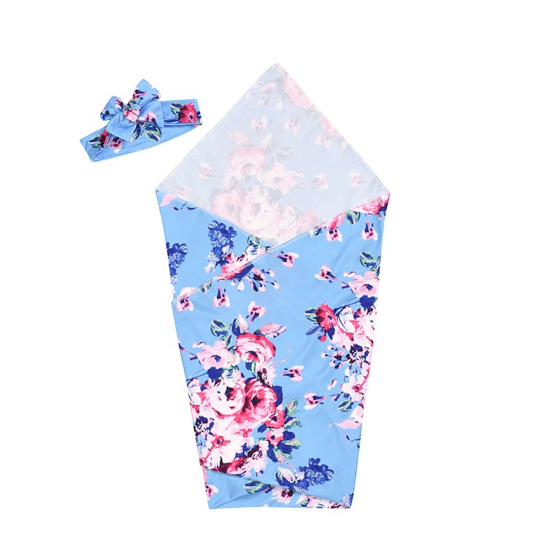 Baby Sleeping Bags Warm Flower Print Baby Boy Girl Swaddle Blanket Quilt Shower Gift Cotton Sleeping Bag With Headband