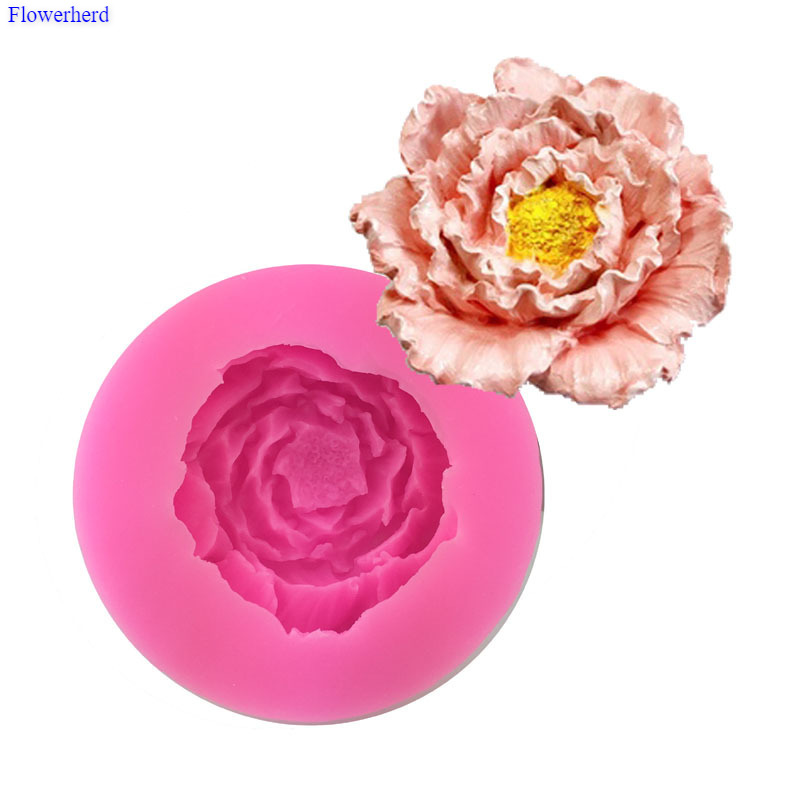 DIY 3D Peony Flower Hibiscus Flower Silicone Fondant Cake Mold Plaster Aromatherapy Handmade Soap Mold Drop Glue Mold