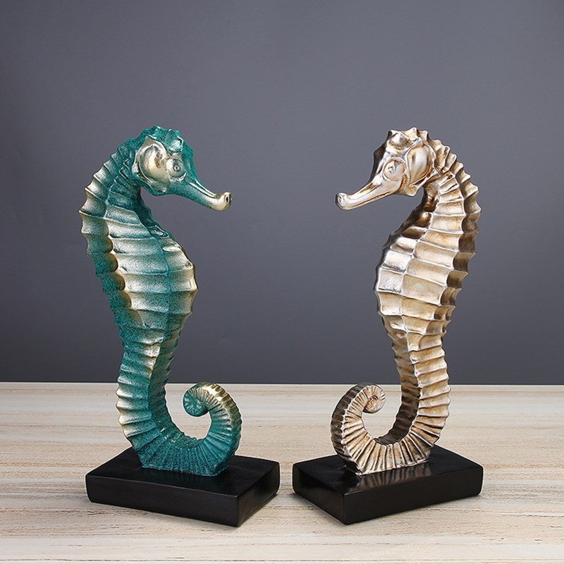 Mediterranean Sea Horse Furnishing Imitation Bronze Seamaster Statue Resin Art&Craft Home Decoration Accessories R2302