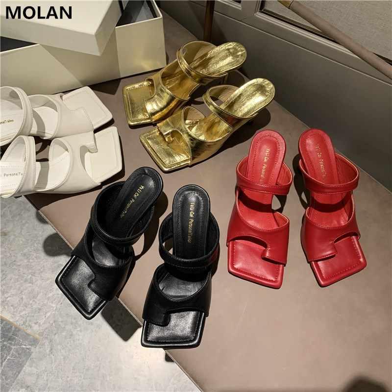 MOLAN marka tasarımcıları 2020 yaz yeni lüks hakiki deri seksi dar bant ayakkabı bayan pompaları loafer'lar üzerinde kayma katır Flip flop