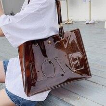 Transparent Handbag Tote-Bag Jelly Waterproof Women Ansloth Letter PVC for HPS889