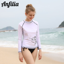 Anfilia Women Rashguard Top Long Sleeve Swimwear Printed Swimsuit Shirts UV-Protection Rash Guard Beach Wear цена 2017