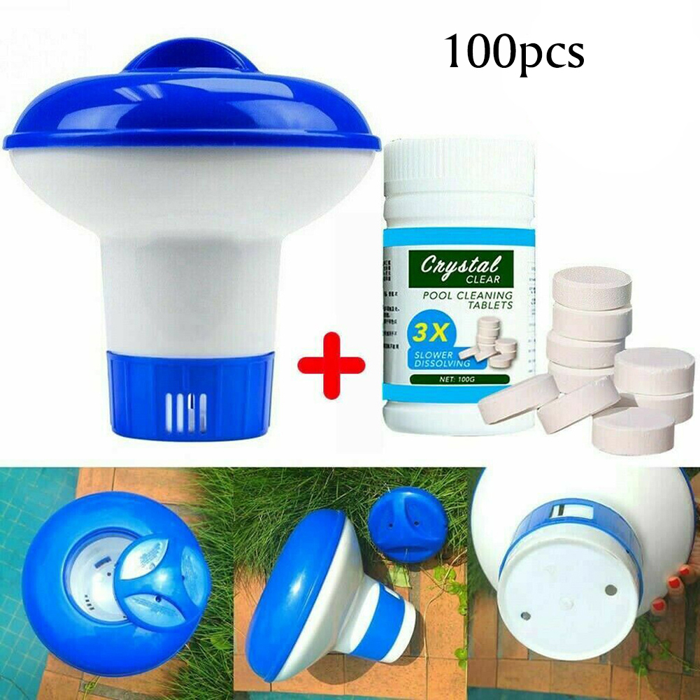 100pcs Magic Pool Cleaning Effervescent Chlorine Tablets Cage Disonfectant Swimming Pool Clarifier Chemical Floating Dispenser