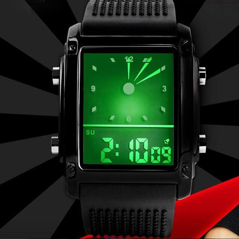 Men Women Student Sports Square Dial Watch Clock Dual Time Day Display Alarm Colorful LED Watch Wrist Watch couple watch Gift