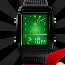 Men Women Student Sports Square Dial Watch Clock Dual Time D