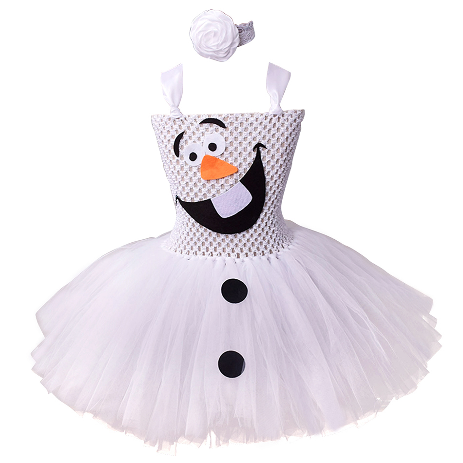 Snowman Olaf Dress up Elsa's Friend Costume Cosplay Snow Queen 2 Kids Tulle Cute Gown Christmas Birthday Princess Tutu Dresses image