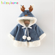 Winter Christmas Outfits Newborn Jacket Elk Cartoon Cute Hooded Soft Faux Fur