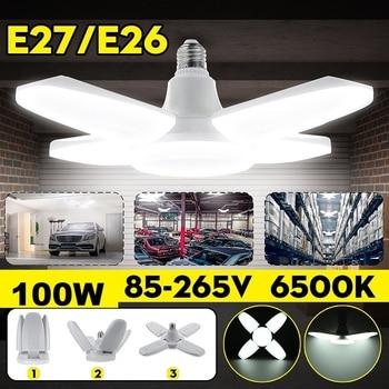 New 100W Deformable Garage Light LED Ceiling Lights No Flicker E26/27 LED Bulb 180-360 Degrees Angle Adjustable Ceiling Lamp