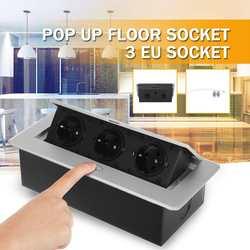 EU Standaard 3 Manier Alle Aluminium Panel Up Floor Socket Stopcontact Modulaire Combinatie Aangepaste Beschikbaar