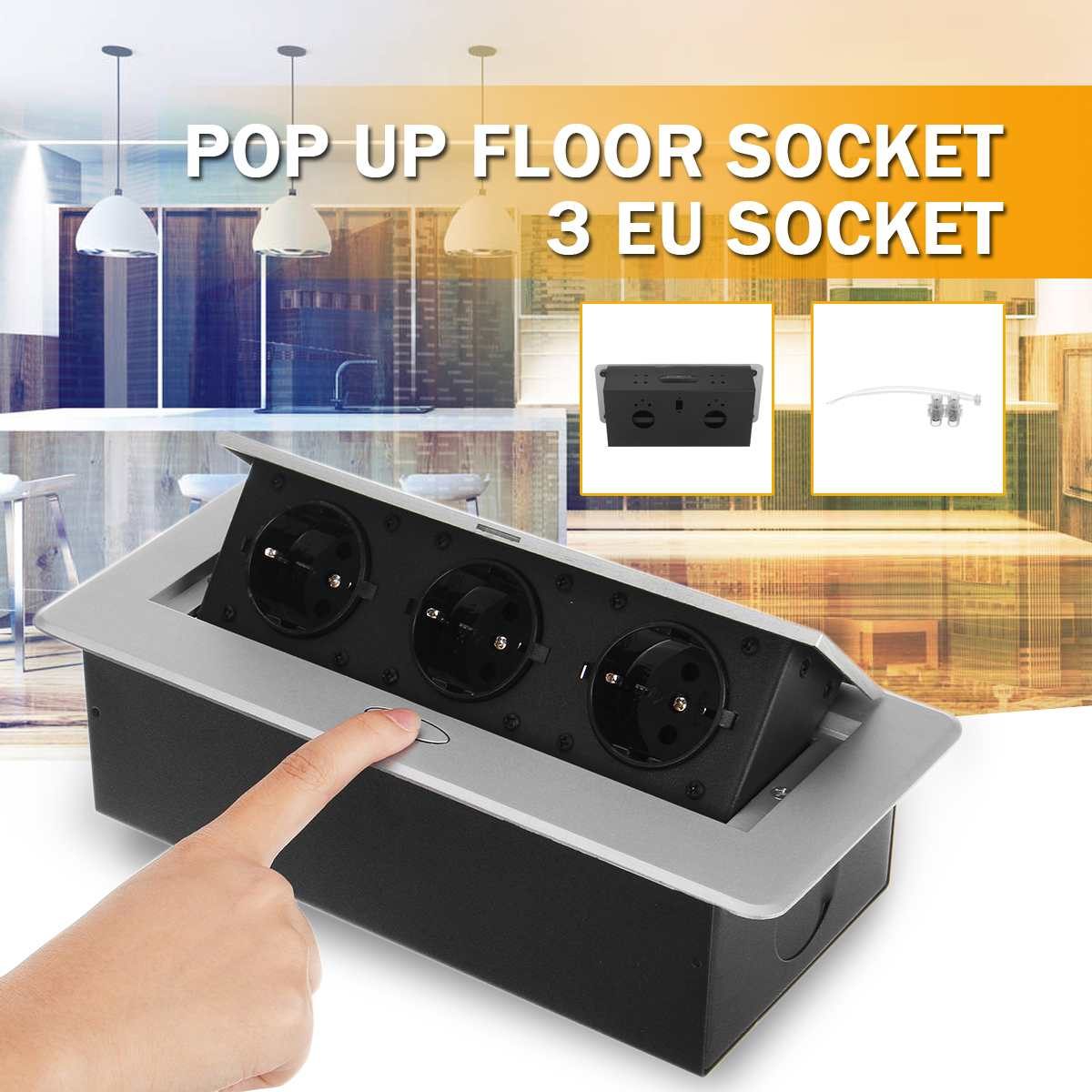 EU Standard  3 Way All Aluminum Panel  Up Floor Socket Electrical Outlet Modular Combination Customized Available
