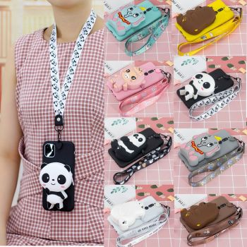 S20 Ultra Case for Samsung A01 A51 A71 Case 3D Panda Silicone Wallet Cover for Galaxy S20 Plus A11 A21 A41 A81 A91 Case Lanyard