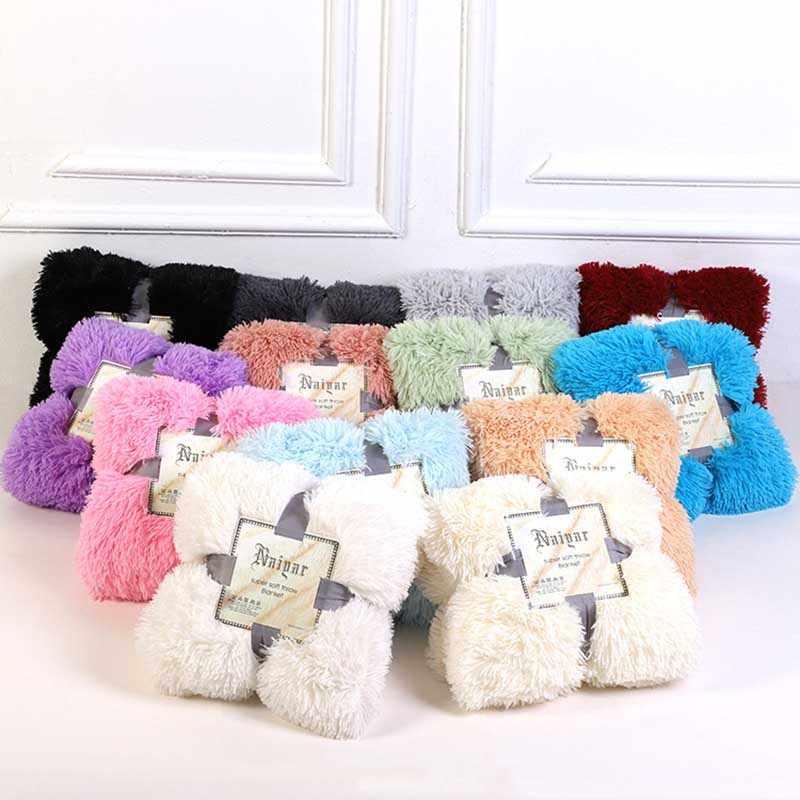 Shaggy Fuzzy Pelz Winter Warme Decke Büro Flauschigen Rest Plaid Sofa Couch Bettwäsche Abdeckung Bettlaken Student Hause Bettdecke