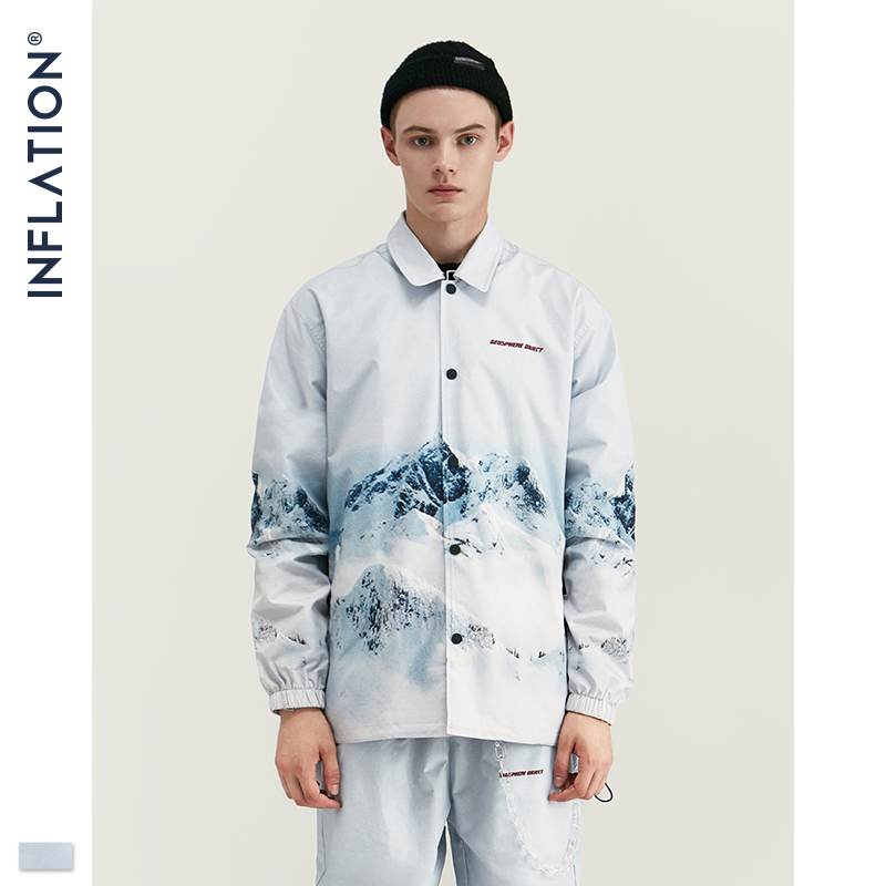 Image 3 - INFLATION 2020 DESIGN Casual Loose Fit Blazer with Print  White Color Streetwear Men Suit Fashion Style  Terno Masculino BlazersMens Sets   -