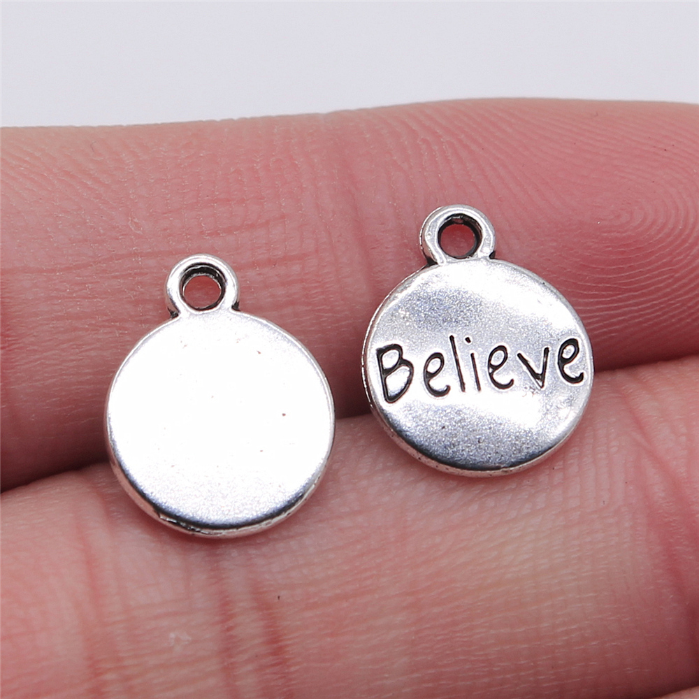 WYSIWYG 10pcs Charms Believe Round Tag Antique Silver Color 11x14mm Metal Alloy Charms Jewelry Diy Accessories