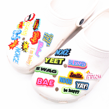 Freeshipping 1pcs Shoe Charms Accessories YAY HEY BANG POW NOICE NO WAY YEET Shoe Decoration for croc jibz Kids Xmas Party Gifts image
