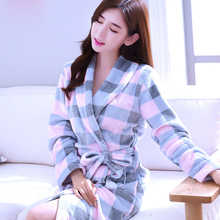 Robes Women Thicker Solid Long Sleeve Flannel Warm Pockets Bathrobes Womens Various Color Leisure High Quality Ladies Elegant