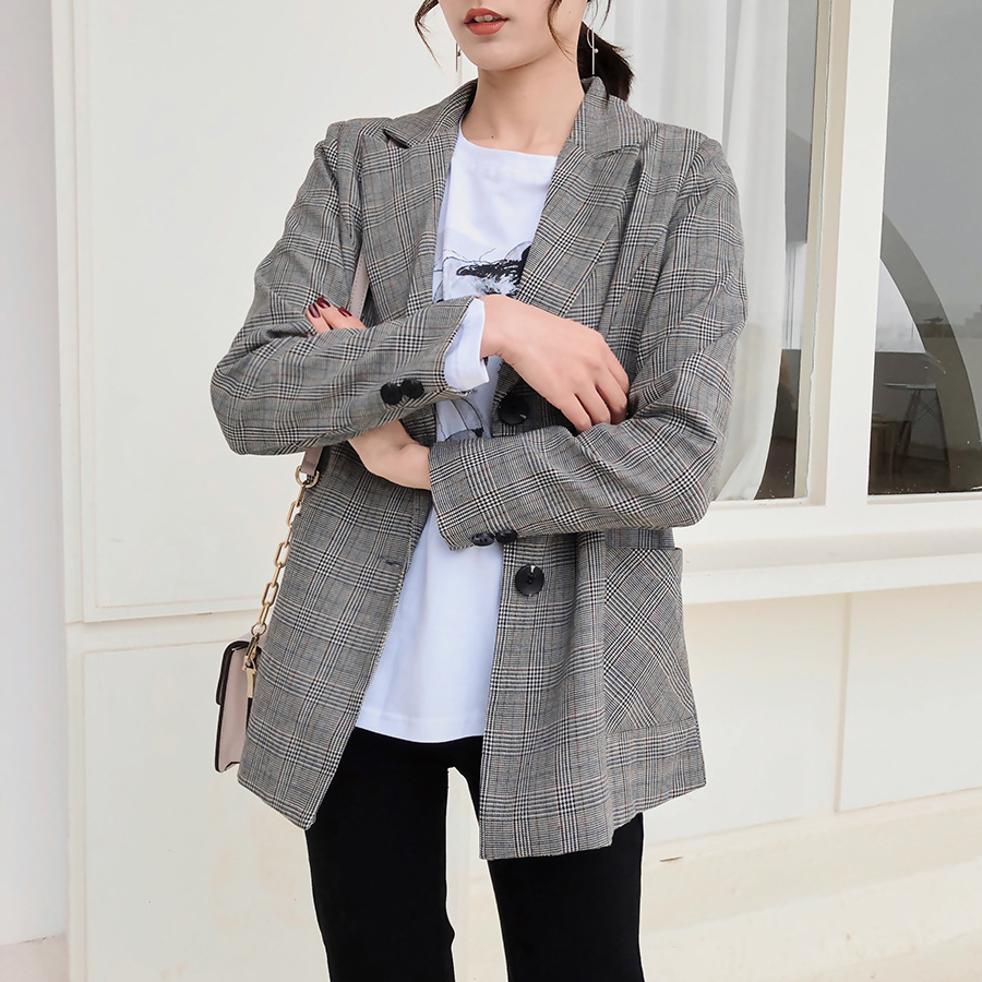 High quality ladies blazer Autumn new single breasted long sleeved plaid suit female Big pocket casual office jacket girl 2019 in Blazers from Women 39 s Clothing