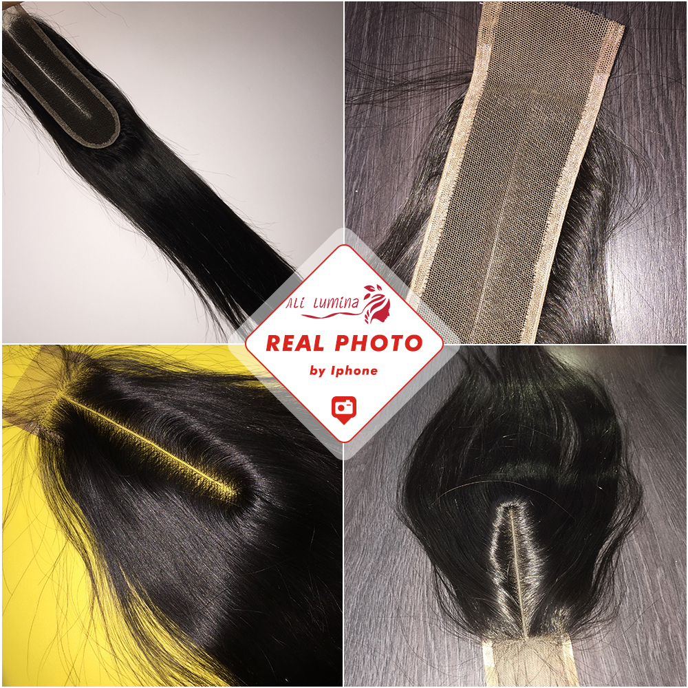 2X6 Closure Straight  Closure  Hair Lace Closure With Baby Hair Pre Plucked Bleached Knots  Natural Color 4