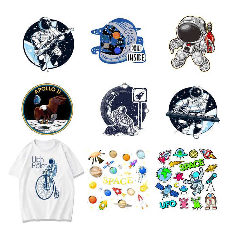 Round Astronaut Space Universe Alien Iron on Patches Heat Transfer Stickers Boy DIY T-shirt Badges Clothing Applications Decor F