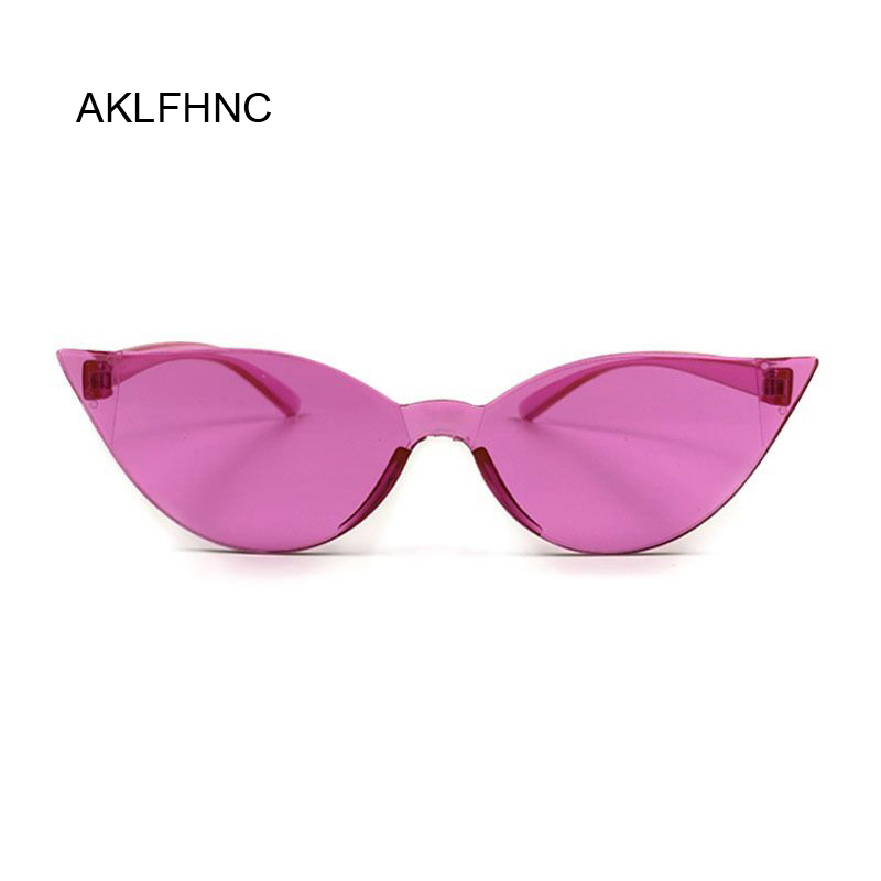 Summer Cat Eye Rimless Sunglasses Women Transparent Shades Sun Glasses Female Cool Candy Color UV400 Eyewear Oculos De Sol