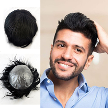 Wigs Human-Hair Hairline Lace-Front Natural with Full-Skin Toupee Remy 100%Virgin Mens
