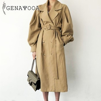 Genayooa Fashion Women Trench Coat Long Double-breasted Belt Lady Clothes Autumn Spring Outerwear Oversize Trench Coat For Women fashion new women trench coat long double breasted belt blue khaki lady clothes autumn spring outerwear