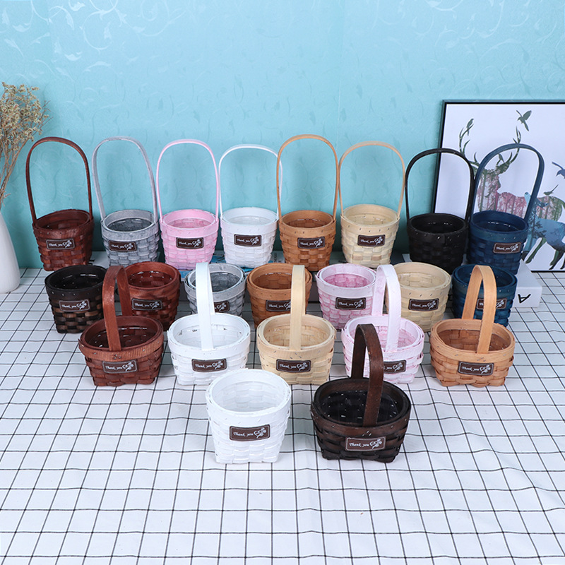 020 Hand woven water fir hand flower basket water fir craft flower pot home decoration plant decoration in Gift Bags Wrapping Supplies from Home Garden