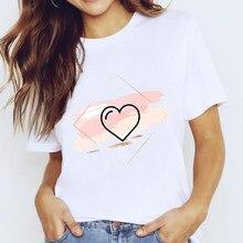 O coração de luslos flor imprimir senhoras dos desenhos animados camiseta feminino casual o-pescoço branco de manga curta senhoras t camisas amor vintage gráfico