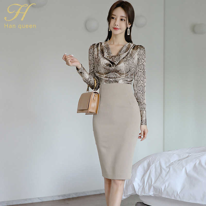 H Han Queen kobiety 2019 jesień Sexy odzież robocza OL 2 sztuk zestaw stos kołnierz Snakeskin wzór bluzki i płaszcza ołówek obcisła spódnica