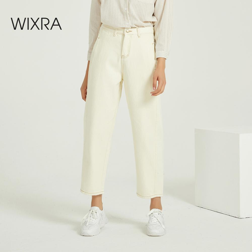 Wixra Women Loose Casual Denim Jeans Ladies Bottoms Female Trouser Pants 2020 Autumn Spring High Waist Trousers