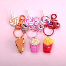 Creative Cute Food Burger Keychains Chip Sandwich Key Chain Bags Car Key Ring Holder Burger Keychains Children Gift 2019 mini cute resin simulation food key chain bags car key ring burger keychains women keychain accessories small gifts pendant