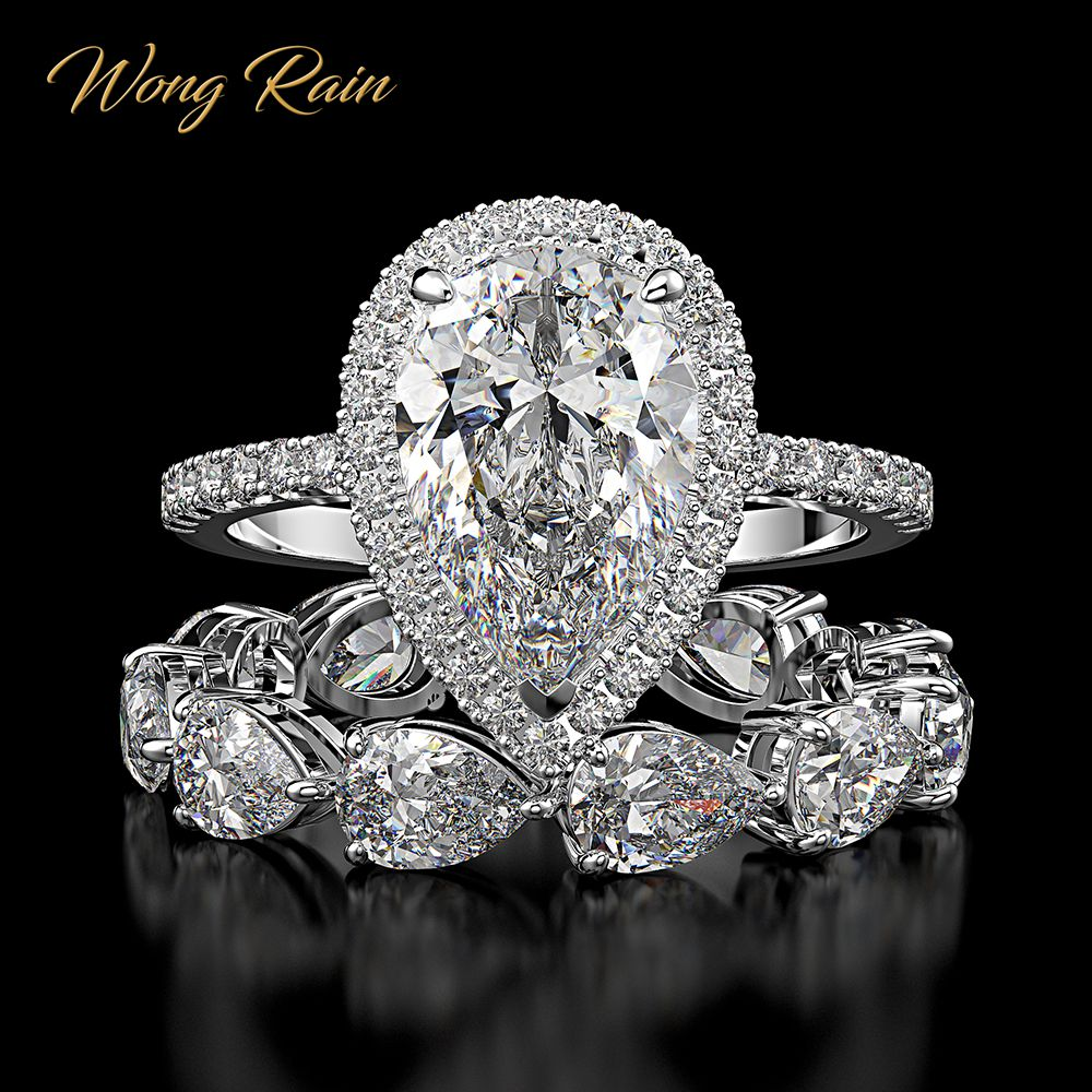 Wong Rain Luxury 100% 925 Sterling Silver Created Moissanite Gemstone Engagement Ring Sets Wedding Band Fine Jewelry Wholesale