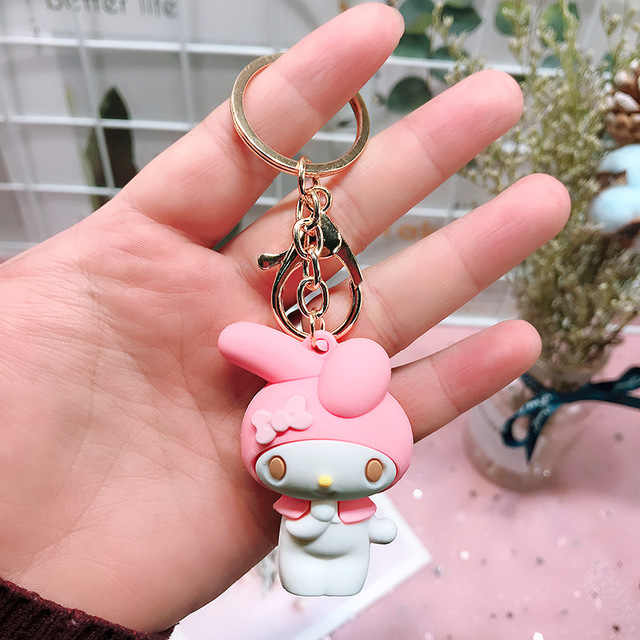 Bonito Série Melodia Sanrio Cinnamoroll Cão Pudim Chaveiro Saco Chaveiro Pingente para Meninas Brinquedos Figura