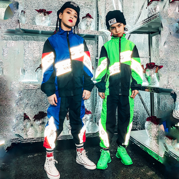 Hip Hop Costume Girl Modern Dance Costume for Kids Jazz Dance Costumes Children Stage Costumes Performance Dance Outfit 120-180