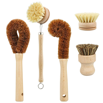 Kitchen Brush Heads 5 Pcs Scrub Brush Plant Based Cleaning Brush Set Dish Vegetable Cleaning Bathroom Kitchen Cleaning Tools Set 1