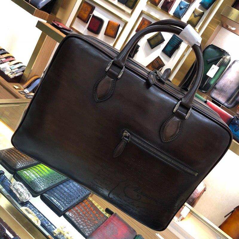 Double-decker Men's Handbag Briefcase High-quality Business Brand Leather Shoulder Messenger Bag Office Bag