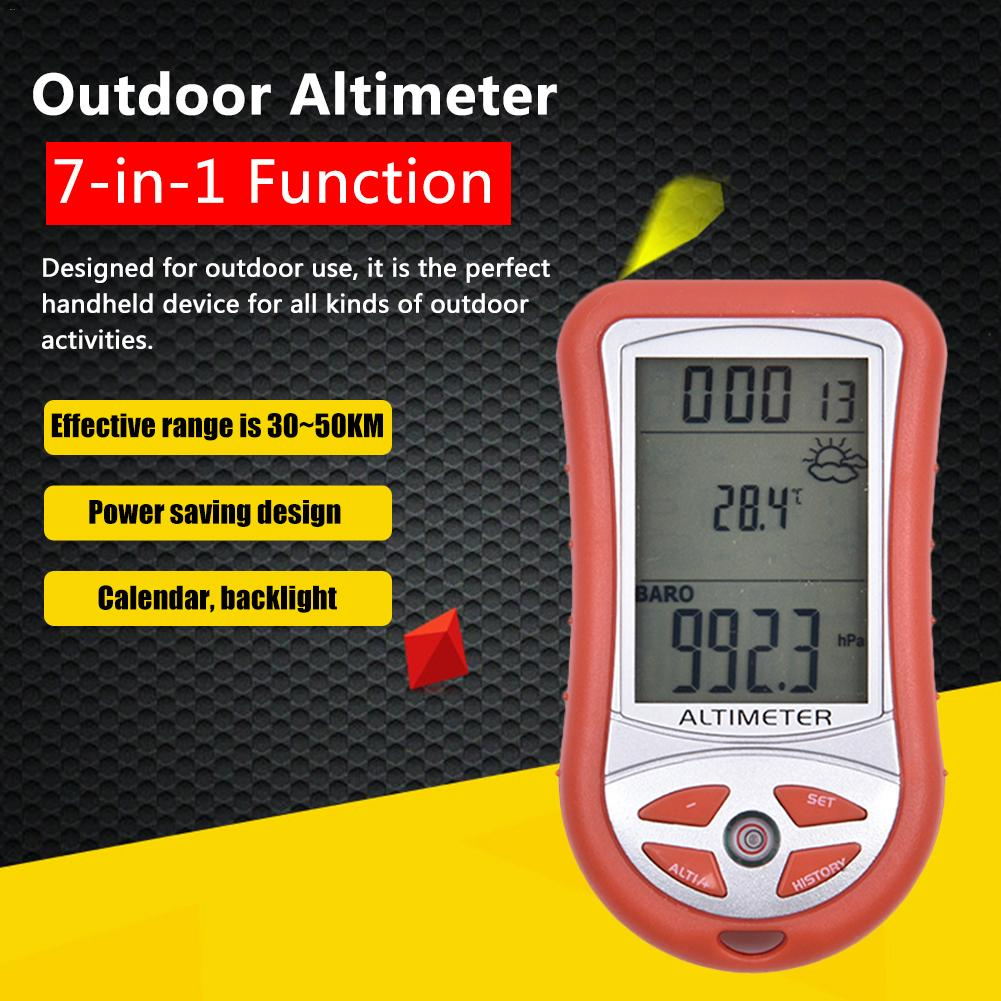 7-in-1 Handheld Altimeter Electronic Height Altitude Meter Thermometer Outdoor Fishing Barometer Weather Instrument